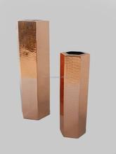 Copper Polished Hammered Vase , Cylindrical Hammered Metal Vase , Metal Flower Vase