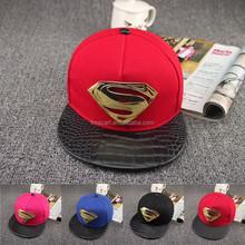 2015 Fashion hip-hop patent leather brim baseball cotton gold medal-super man snapback cap and hat