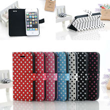 Funky Polka Dot pattern style leather stander phone case for iphone5/5s housing
