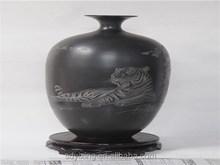Shandong YunXin longshan black pottery vase furnishing articles handmade crafts, The graven tiger