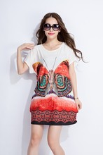 2015 new design butterfly printed ladies blouse