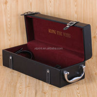 Luxury Black PU Leather Case Wine Carrier Gift Box With Handle