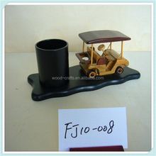 pencil vase wooden with wooden miniature golf cart model craft desktop furnishings