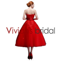 Customed Colorful Appliqued Bodice Strapless Low Back Tea-Length Ball Gown Evening Dress for Teenagers ED58