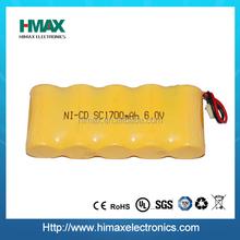 shenzhen prezzo di fabbrica 6v nichel cadmio batteria