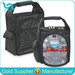 "10"" Small Black Nylon Golf Cooler Bag Insulated Bag Cooler Bag With Aluminum Foil Liner"