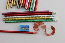 "7"" HB Pencil With Eraser /Colorful Wooden Pencil/HB Lead Standard Pencil With White Eraser Round Shape Bass Wooden Pencil"