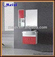 wall hung Solid Wooden bright color Bathroom vanity