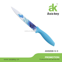 New style Coated elegent pattern blade Non-stick Kitchen knife with blue PP handle