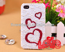 FL150 fashion colorful full bling pearl heart shape love diamond crystal case for iphone 4 iphone 5