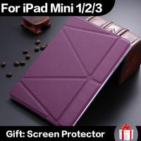 Ultrathin PU Leather Case For iPad mini 1 2 3 Smart Magnetic Wake Sleep Cover TPU Back Adjustable Stand