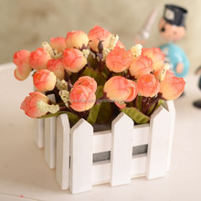 Autumn Color Fake Rose Artificial Flower with White Square Wooden Fence