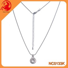 Wholesale Interchangeable Round 12mm Snap Button Necklace Jewelry Press Snap Button Jewelry With a Chain In Stock