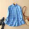 Garment wash new style office ladies plaid Shirt fashion blouses chambray women bamboo cotton shirt