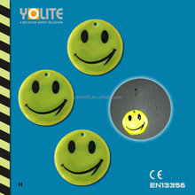 Yellow reflective smile hanger/soft reflective danglers/reflective soft tag with CE EN13356