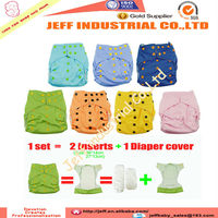Online Wholesale PUL Colored Snaps Baby Cloth Nappies AI2 Cloth Diapers Solid Color With 2 pcs Bamboo Inserts Snaps Attached