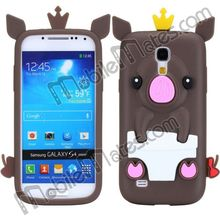 Funny Pig Shape Crown Design Silicone Cover Case For Sasmung Galaxy S4 Mini i9190
