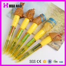 Compact cartoon chracter head pen plastic pen for promotion