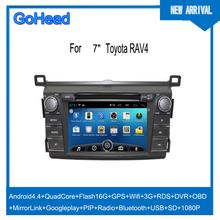 For Toyota RAv4 2013 Car DVD GPS Android Navigation Quad Core USB SD Wifi 3G RDS Radio MP5 DVR OBO Mirror Link 1080P