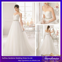 Designers Glamour Sweetheart Zipper Back Lace Applique Beading Waistband Sweep Train A-line Elegant Wedding Dress Patterns 2014