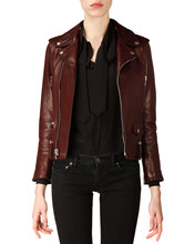 Soft smooth lamb skin Classic Bordeaux Leather Moto Jacket Sexy Premium Genuine Leather Jacket - XS S M L XXL XXXL XXXXL