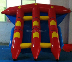floated aqua water games flying fish,inflatable sea water toys, colourful flyfish banana boat