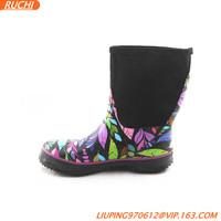 colorful flower warm cheap kids neoprene rain boots