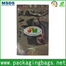 silver color plain zipper al bag/aluminum foil zipper pouch