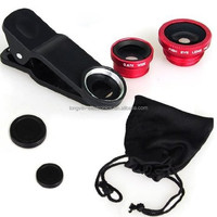 Mobile phone camera fisheye portable lens kit 180 Fish eye /Macro/ 0.67X Wide angle 3 in 1 three in one collection