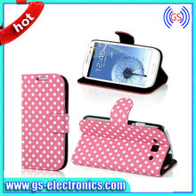 Popular Wallet Leather Case For S3 cute polka dot wallet leather for samsung galaxy s3 cases