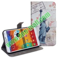 2014 Cell Phone Accessories for Samsung Note 3 with Statue of Liberty Pattern Leather Case