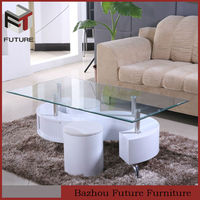 elegant wood base glass top coffee table with stools