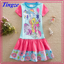 Hot sales fashion summer fancy my little pony short sleeve child dresses for girls of 7 years old TR-A57