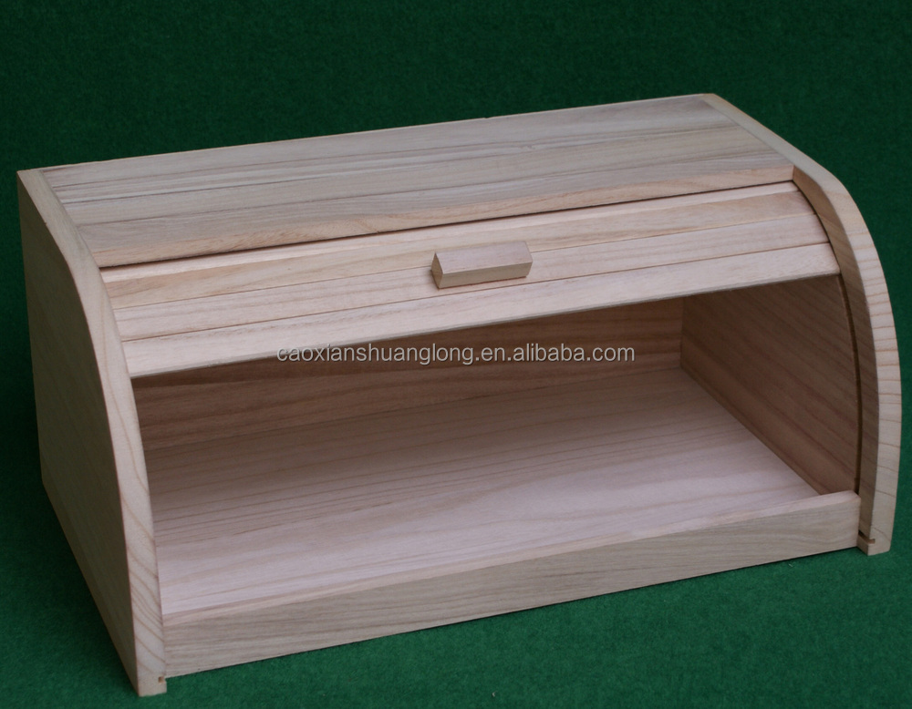 unfinished wood bread box 1