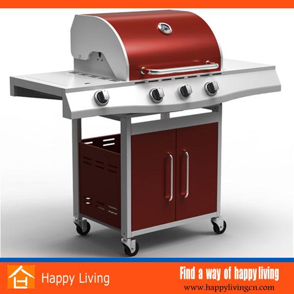 3+1 Burner Red Color Commercial Kitchen Gas Bbq Grills