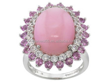 Pink Opal With .88ctw Pink Tourmaline And 1.37ctw White Zircon Sterling Silver Ring
