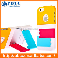 Set Screen Protector And Case For Iphone 5 , Hard Plastic Colorful Mobile Phone Stand Case