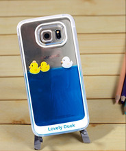 Flowing Liquid Swimming Yellow Duck Transparent Cover Case for Samsung Galaxy S6