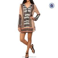 Bell sleeves vented side hem geometric print western tunic dresses
