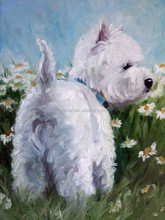 Manufacturer Supply High Quality West Highland Terrier Dog White Puppy Oil Painting On Canvas For Baby Room Healthy Decoration
