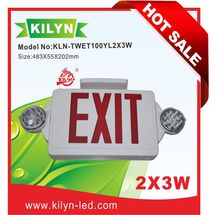 LED Exit Sign Competitive Emergency Lighting Combo Unit / Rotate LED Lamp Head / Red Letter / White housing