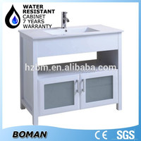2015 Hangzhou Factory White Lacquer High Gloss Paint Glass Bathroom Cabinet With Basin