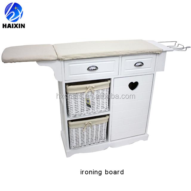 Madera plegable tabla de planchar soporte/mesa con cestas de mimbre de almacenamiento