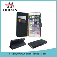 Genuine leather case wallet with credit card slots leather flip cover folio wallet case for iPhone 6