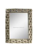 Velvet and leather framed mirror