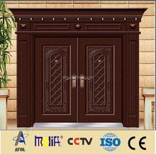 Zhejiang afol produce luxury design double leaf glaze copper construction door