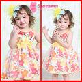 Amarillo hermoso vestido debebé ropa de niño, venta al por mayor de flores vestido de niña de vestido casual 2686 patrones