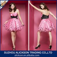 2014 Hot Pink Ruffle Sweetheart Dot Layered Organza Fabulous Homecoming Dresses