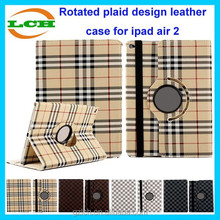 Luxury style 360 degree rotate with plaid design leather case for ipad air 2