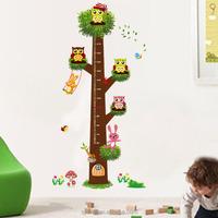 children wall sticker height growth measure chart nursery decal stickers cartoon XL owl tree wall stickers children's wall mural